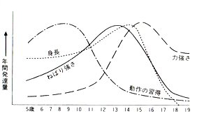 運動能力や体力はいつ発達するのか(宮下,1980)